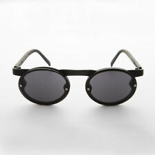 Black 90s Oval Goth Steampunk Sunglass with Floating Browline - Oswald