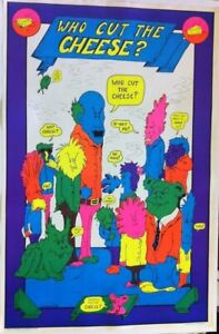 Who Cut The Cheese? Original 1974 Black Light Poster 23 x 35