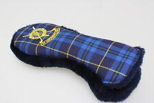 Royal/Navy Blue Tartan + Fur Back Rescue/Hybrid Golf Cover Fur Lining Club Logo
