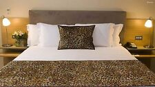 Bed Scarf Brown Bed Runner With Cushion Cover Leopard Print Twin Size 68x20""