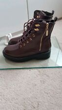 RAINFOREST LADIES WOMENS WINTER BOOTS LACE UP SIZE 6 RED WINE WARM & COMFORTABLE