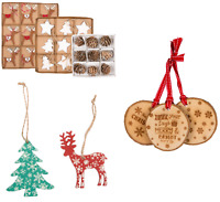 9x Xmas Tree,Pine Cone,Star,Reindeer Wooden Hanging Decorations 3x Laser Cut Log