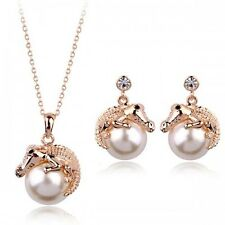 18K Gold GP made with SWAROVSKI Element Crystal Pearl Earring Necklace Set Gold