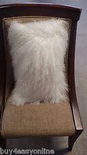 "Handmade Mongolian Fur 12""x20"" Rectangle White Pillow Cushion Case & back Fabric"
