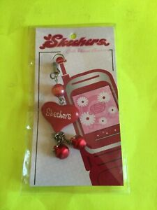 Skechers Mobile Cell Phone Red Heart Charm Bead Silver Crystal - Rare