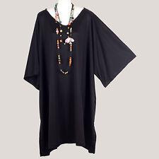 neuen Frauen einfarbig schwarzen Kaftan Tunika Bluse Shirt Top Mega Gr. 54 56 58
