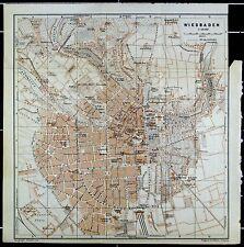 WIESBADEN, alter farbiger Stadtplan, gedruckt ca. 1910