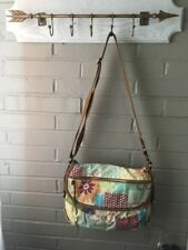 FOSSIL Multicolor Leather/Canvas Floral Geometric Patchwork Crossbody Organizer