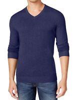 Alfani Mens Sweater Navy Blue Size Small S Ribbed Trim V-Neck Pullover $60 195