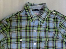 Gap Kids Academy Button-Up Blue Green Plaid Epaulette Shirt Top Size Small S 6-7