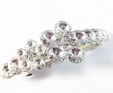 USA HAIR PIN Clip Crystal Swarovski Element Cubic Zirconia Barrette Clear Flower