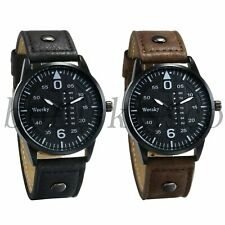 Classic Men's Casual Leather Band Week Decoration Dial Analog Quartz Wrist Watch