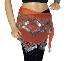 Orange Hip Wrap Dress Coin Scarf Belly Dancing Dance Attire Outfit Clothing