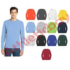 New Men's Hanes Tagless Long Sleeve T-Shirt 6oz Soft ComfortSoft 100% Cotton Tee