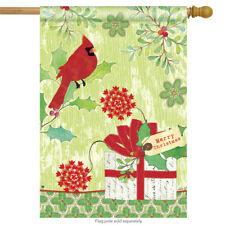 "Christmas Gift Cardinal House Flag Merry Holiday Berry Present Holly  28"" x 40"""