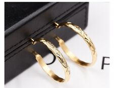 24K Gold Filled Stainless Steel 35MM India Hoop Earrings Bridesmaid Love Gift E