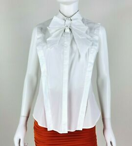 Anne Fontaine NWT 8 US 40 FR 44 IT M White Cotton Dress Shirt Blouse Top Runway