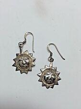 Sterling Silver Sun Earrings Dangle Hooks with Face