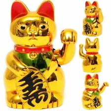 Chinese Lucky Fortune Waving Gold Cat Figure with Moving Arm Feng Shui Money