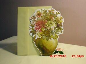 Carol's Rose Garden - Birthday - Gold Vase of Flowers on cover