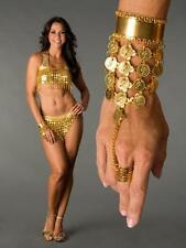 TRIBAL ETHNIC GYPSY ARABIAN NIGHTS Belly Dancer HAREM :Plated Gold Coin BRACELET