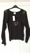 Candies ladies brown crepe effect long sleeved top floral detail size M