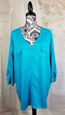 George women's stretch knit top pullover 3/4 ruched sleeves plus size 3x wrbb