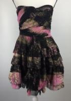 Diane von Furstenberg Strapless Dress Pink Wing Print DVF D1956045F14X $598