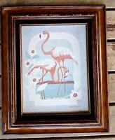 80's ? Harry Wysocki Print framed pink flamingos vintage kitschy 18x22 outside