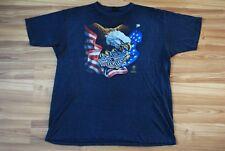 VINTAGE 1987 HARLEY DAVIDSON 3D EMBLEM MOTORCYCLE EAGLE T-SHIRT USA FLAG RARE
