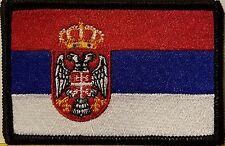 SERBIA Flag Patch With VELCRO® Brand Fastener Morale Emblem BLACK Border