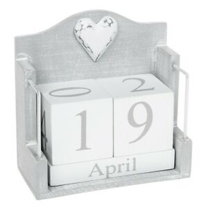 Provence Cool Grey Perpetual Wooden Block Calendar Shabby Chic Date Home Desk