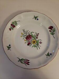 """Pair LUNEVILLE FRANCE K & G OLD STRASBOURG SALAD PLATE 7 1/8"""" FLOWERS PINK TRIM"""