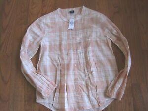Gap New with Tags! Girls Peach Plaid Cotton Tunic Top Shirt SZ 14
