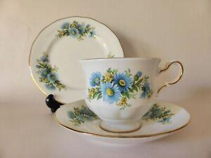 Queen Anne Blue Daisy Vintage Bone China Teacup Trio, Floral Vintage Tea Cup Set