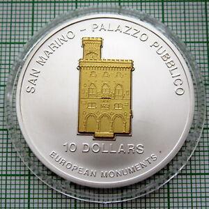 NAURU 2005 10 DOLLARS PALAZZO PUBBLICO SAN MARINO 3D MONUMENT 1oz SILVER COA s/n