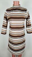 Vintage Barco Striped Uniform Dress Poly Zip Brown White Full Zip Sz L Made USA