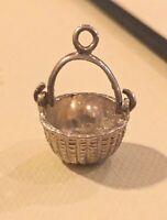 Sterling Silver 3D Nantucket Style Basket Charm Pendant