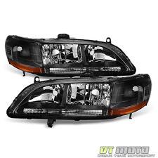 1998-2002 Honda Accord DX EX LX SE Clear Trim Blk Headlights HeadLamp Pair 98-02