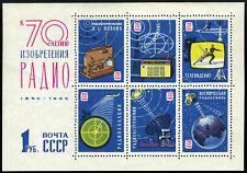 Russia 3040 S/S, MNH. 70th anniv. of A.S. Popov's radio pioneer work, 1965