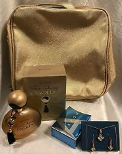 AVON 'Far Away Gold' Perfume, Earrings, and Gold Cosmetic Bag - NEW!!!
