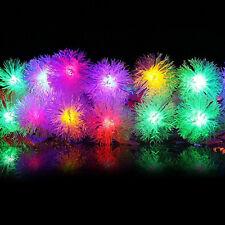 LED Lichterkette 100 Schneeball Weihnachtsbeleuchtung außen Kugeln RGB bunt 10m