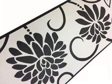 Black White Floral Wallpaper Border Flower Self Adhesive Peel Stick Vinyl