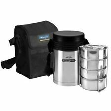 Milton Tuscany Vacuum insulated 4 Compartment Tiffin Lunch Box With Carry Case G