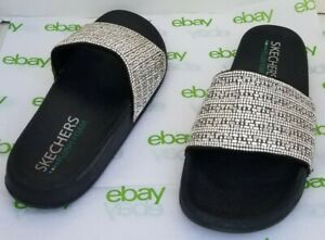 SKECHERS Cali Pop Up Plush Foam Summer Rush Bling Black Slides Sandals Sz 8