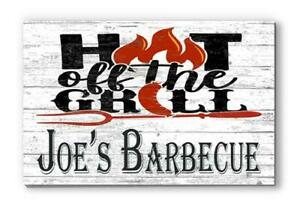 Customized Name Sign Hot Off the Grill Wood Farmhouse Décor for Dad, Fathers Day