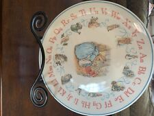Wedgewood China Peter Rabbit collectible plate alphabet Abc pattern blue border