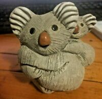 "Artesania Riconada ""Koala with Baby"" VTG 70's Hand Carved & Signed from Uruguay"