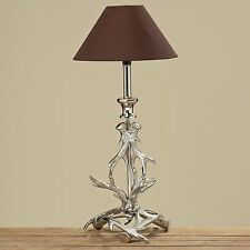 Tischlampe Geweih 48cm Höhe mit braunem Schirm Lampe Ast Baum Landhaus Neu