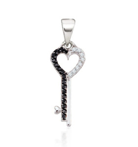 10K White Gold Key To My Heart Diamond Pendant Black & white Diamonds 1 Inch